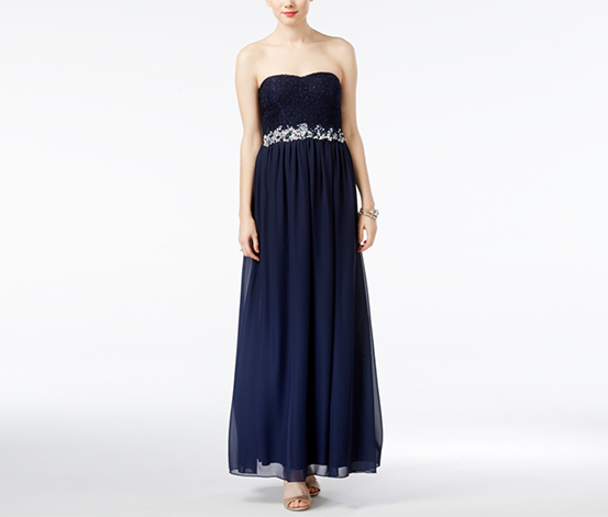 Speechless Women's Embellished Glitter-Lace Gown, Navy