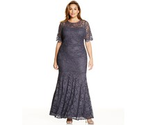 Xscape Plus Size Lace Shimmer Mermaid Gown, Gray