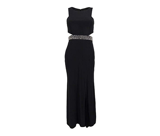 Xscape Women's Illusion Cutout Embellished Gown, Black