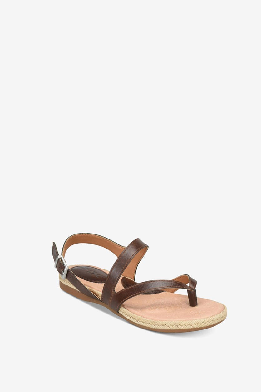 Women's Lucila Leather Casual Ankle Strap Sandals, Saddle