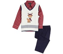 TFW  Baby Boys 3-Pc. Reindeer Sweater Vest, Plaid Shirt & Pants Set, Red/Navy/Off White