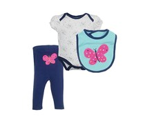 Bon Bebe Girl's Bodysuits 3PCS, Blue/White