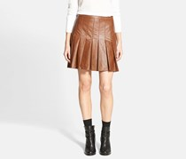 Ace Delivery Women's Pleated Faux Leather Skirt, Caramel