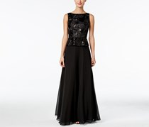 Calvin Klein Women's Sequined Embroidered Peplum Gown, Black