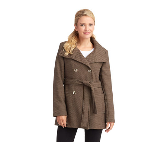 Calvin Klein Women's Basketweave Trench Coat, Brown