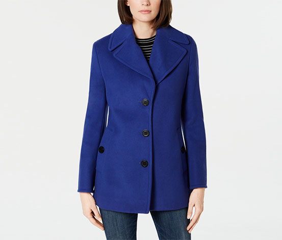 Calvin Klein Women's Wool-Blend Single-Breasted Peacoat, Purple