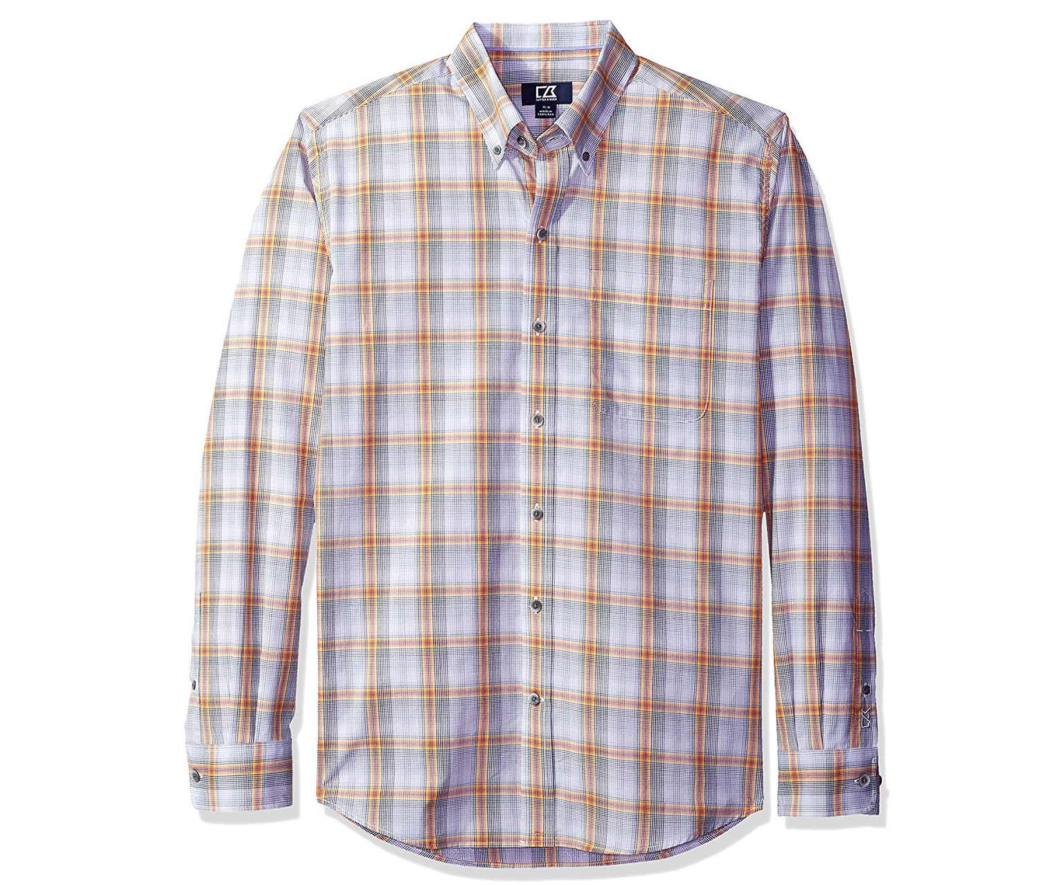 Cutter & Buck Men's Big and Tall Starboard Plaid, White/Yellow