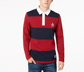 Original Penguin Men's Long-Sleeve Striped Polo, Red/Navy