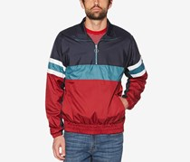 Original Penguin Men's Colorblocked Quarter-Zip Jacket, Navy/Green/Red