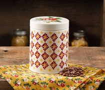 The Pioneer Woman Small Canister, White/Red/Yellow