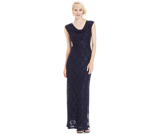 Connected Apparel Women's Lace Cowl-Neck Gown, Navy