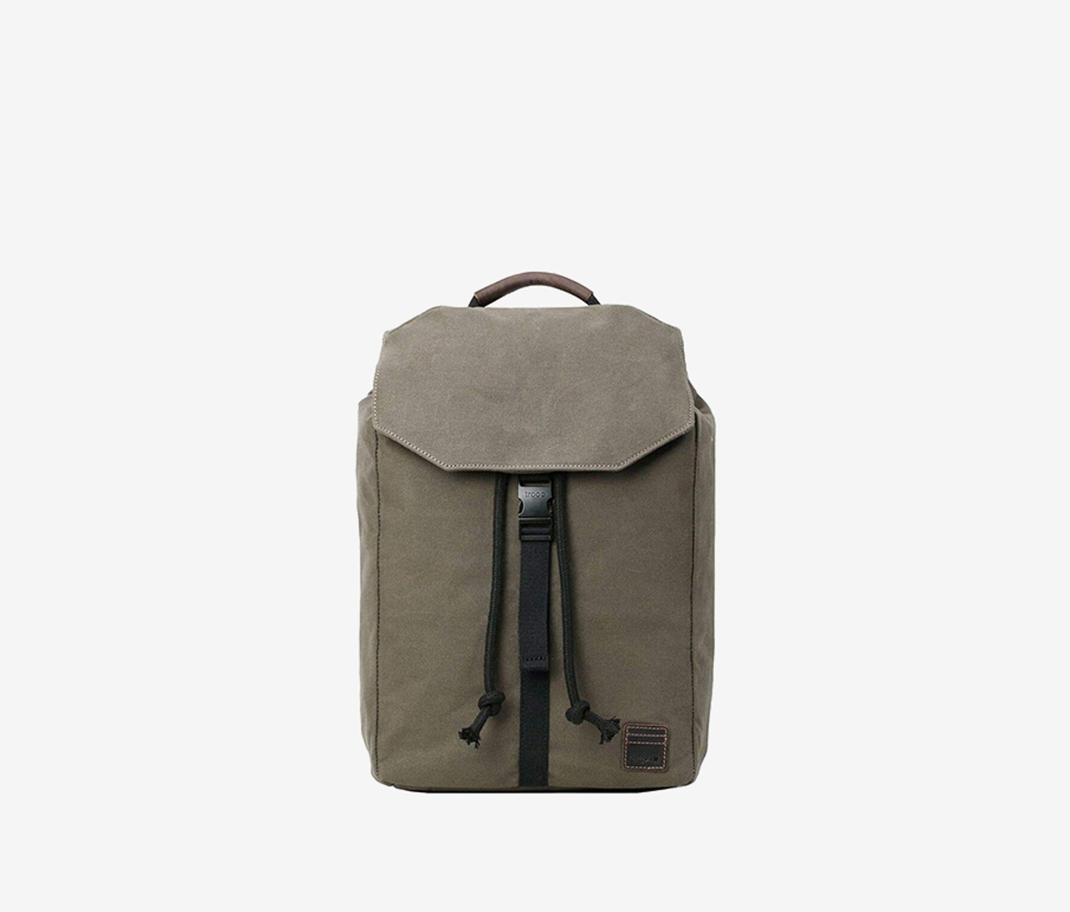 Troop London Canvas Leather Backpack, Olive