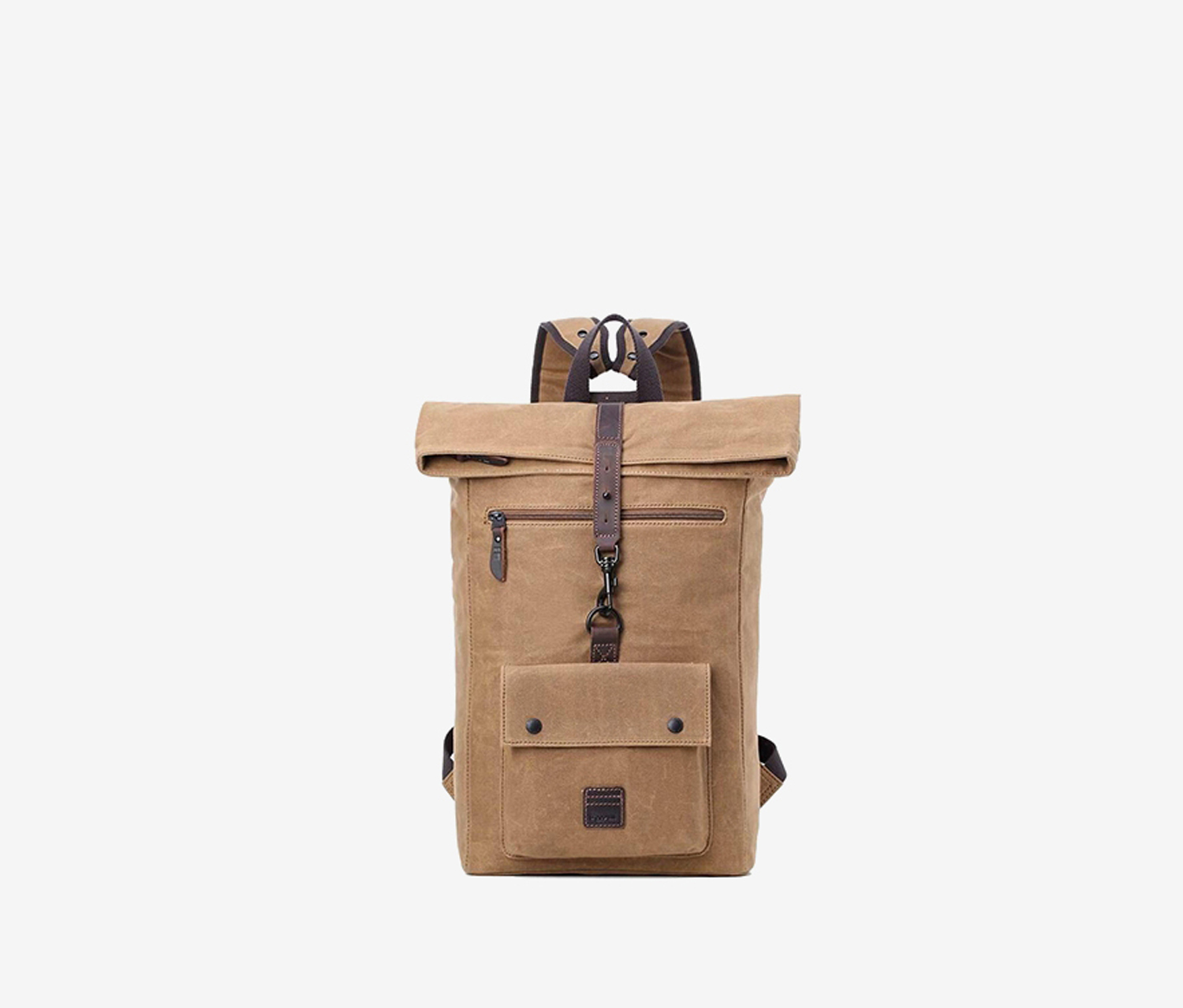 Troop London Heritage Leather Canvas Fold Top Backpack Laptop, Camel