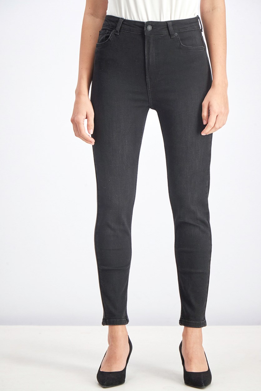 Womens Ripped Detail Skinny Jeans, Black