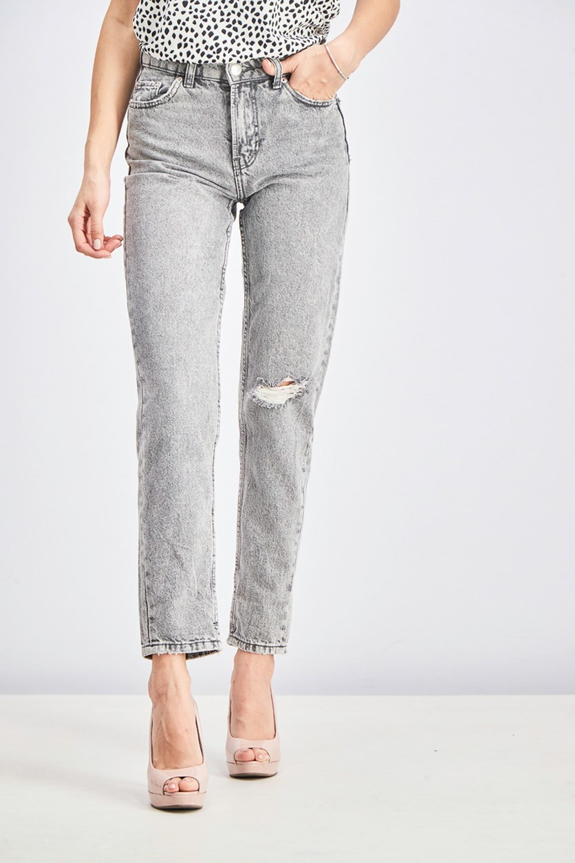 Womens High Waist Mom Jeans, Grey Wash