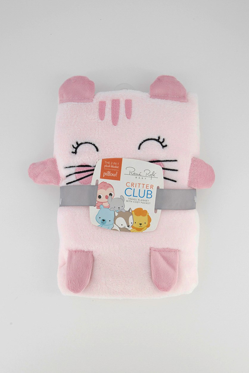 Critter Club Travel Blanket with Cozy Pocket, Pink