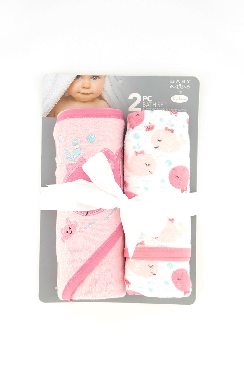 Baby 2pc Set Bath Hooded Towel, White/Pink