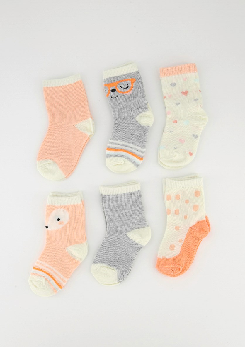 Baby Girls 6 Pair Of Socks, Grey/Neon Pink