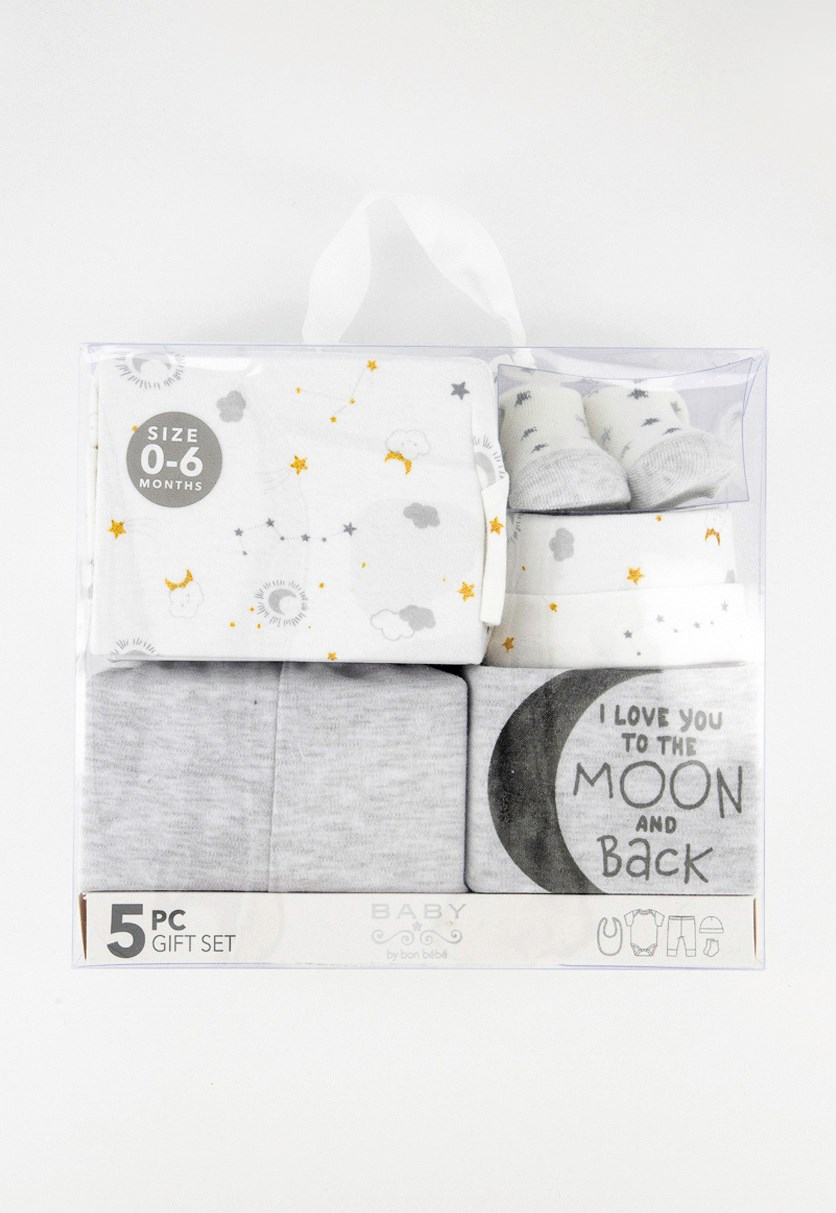 Baby Infant 5-Piece Gift Set, Grey/White
