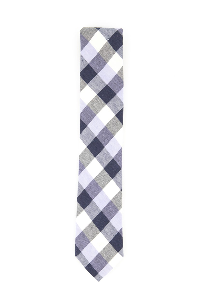 Men's Checkered Necktie, Black/Purple Combo