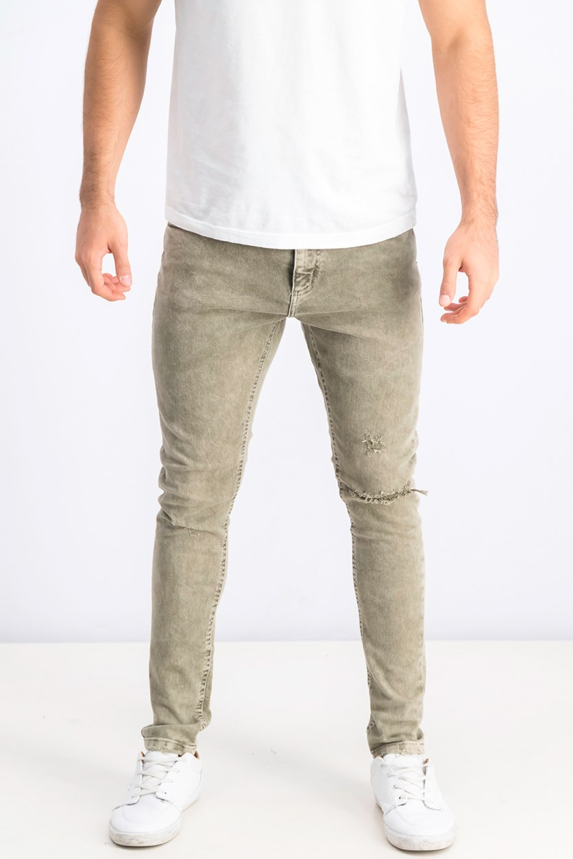 Men's Super Skinny Fit Jeans, Olive Washed