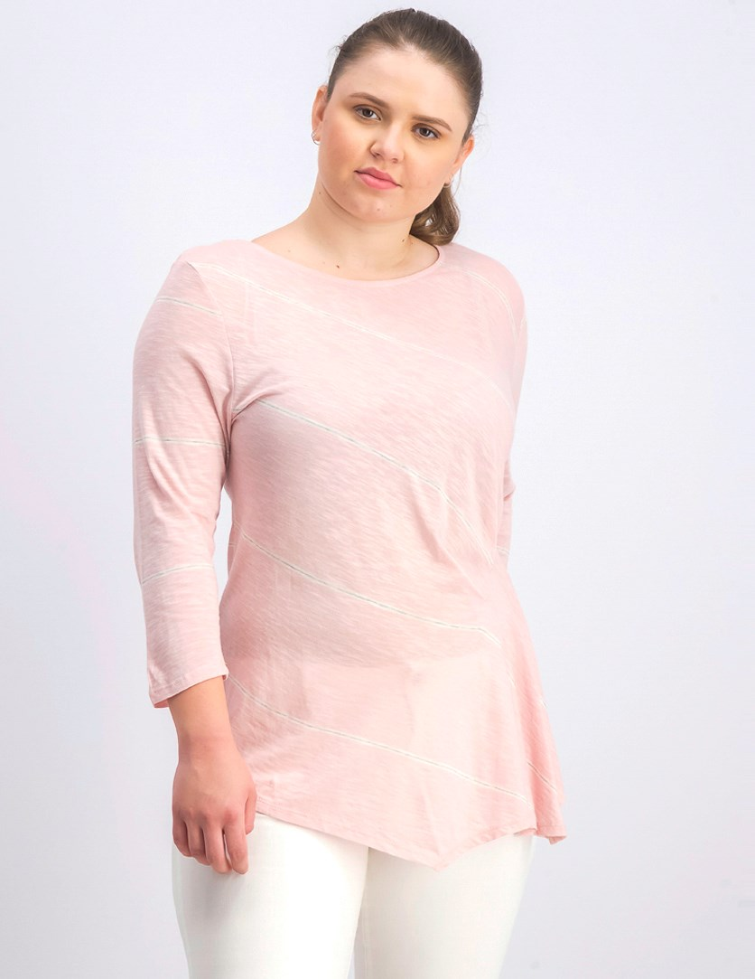 Women's Striped Sheer Pullover Top, Lustre Pink