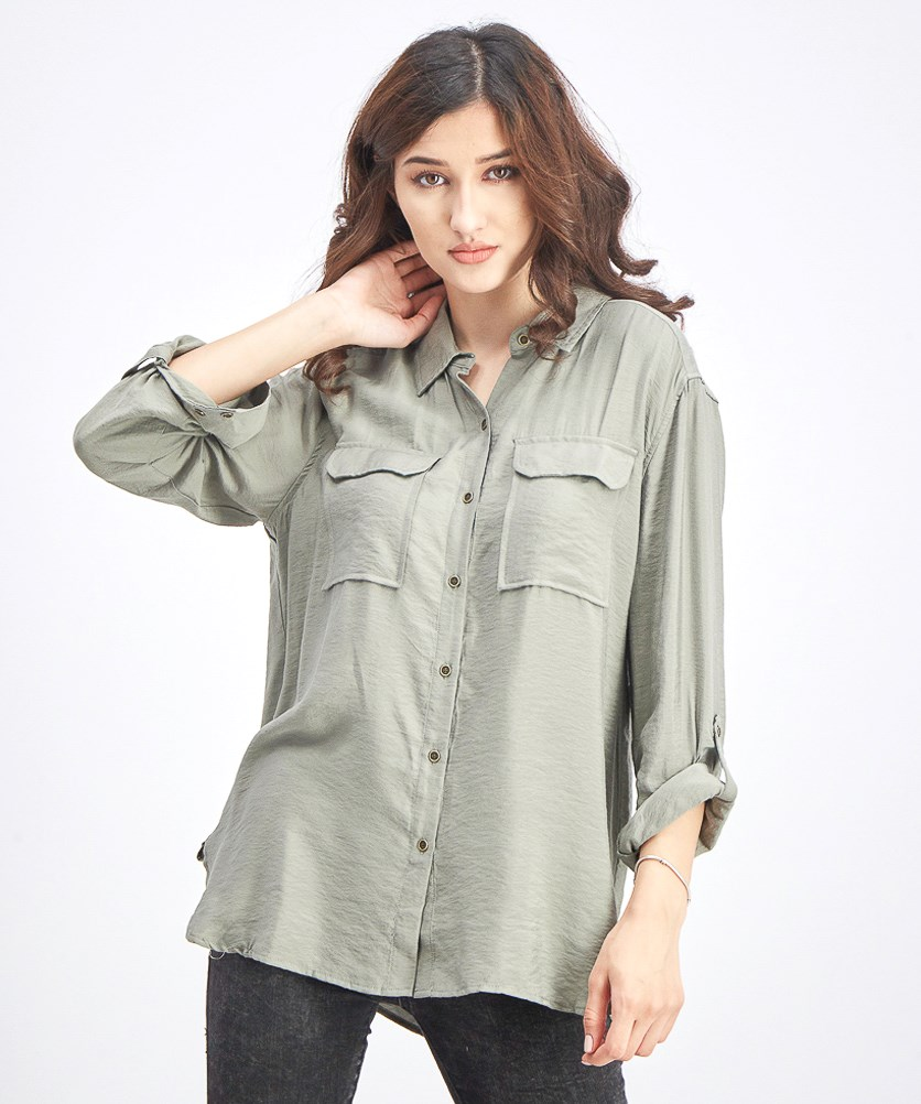 Women's Hammered Satin Utility Shirt, Camo Green