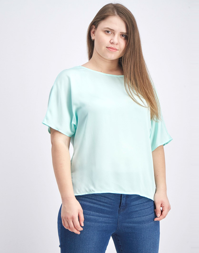 Women's Pleat Back Hammer Satin Top, Sea Glass