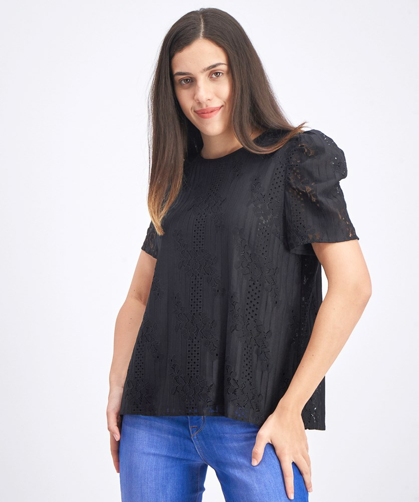 Women's Puff Sleeve Lace Blouse, Black