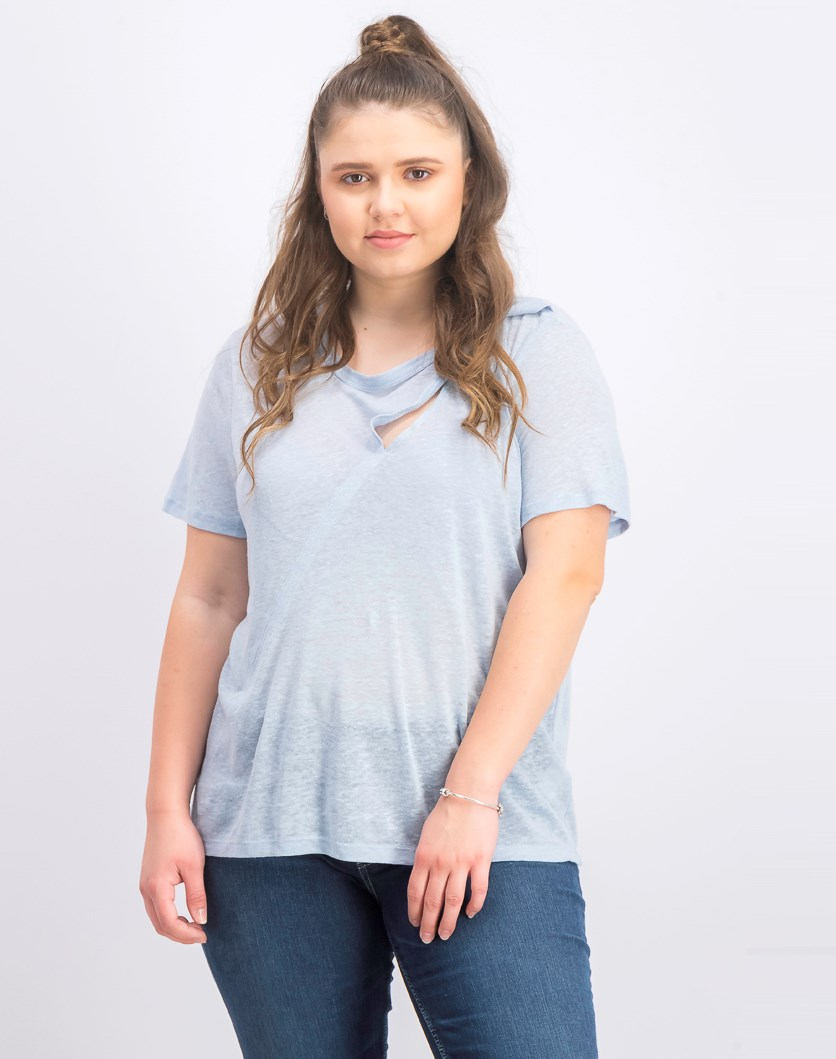 Women's Linen Cutout Linen Tee, Wind Surf