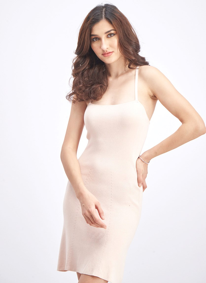 Women's Sleeveless Casual Dress, Peach