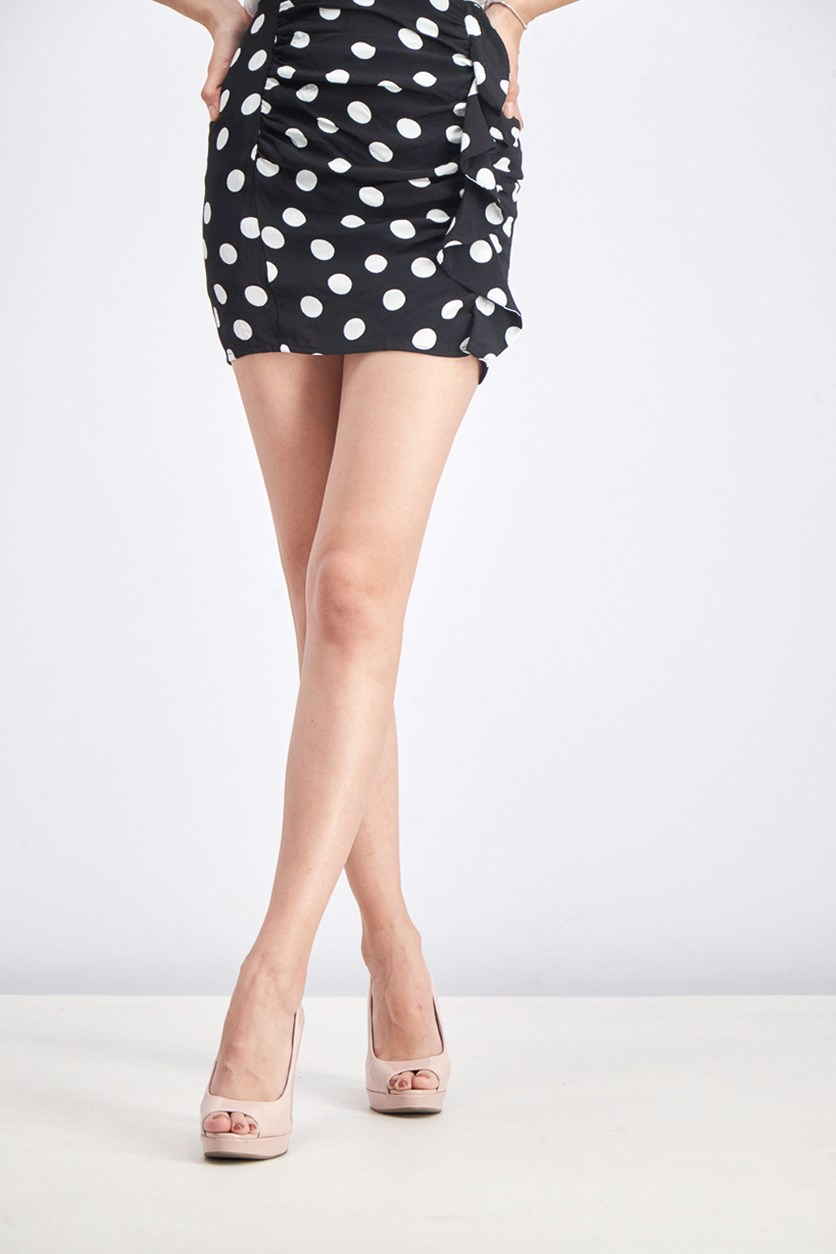 Women's Polka Dots Skirt, Black/White