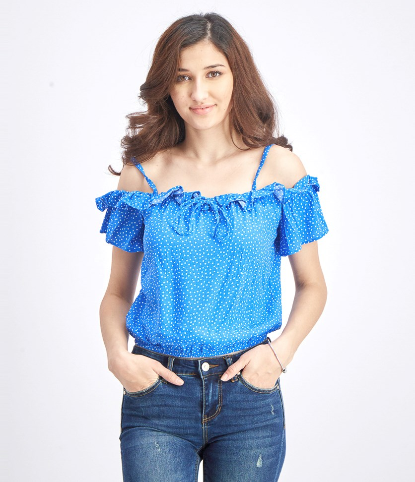 Women's Off Shoulder Ruffle Top, Blue