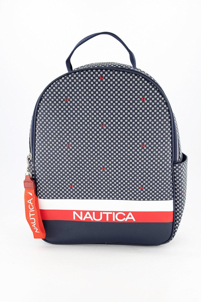 Women's Printed Backpack, Navy Combo