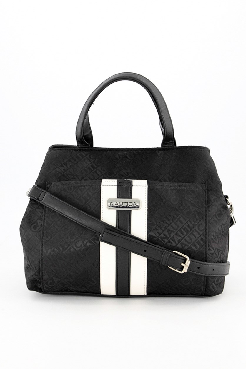 Women's Satchel Bag, Black/White