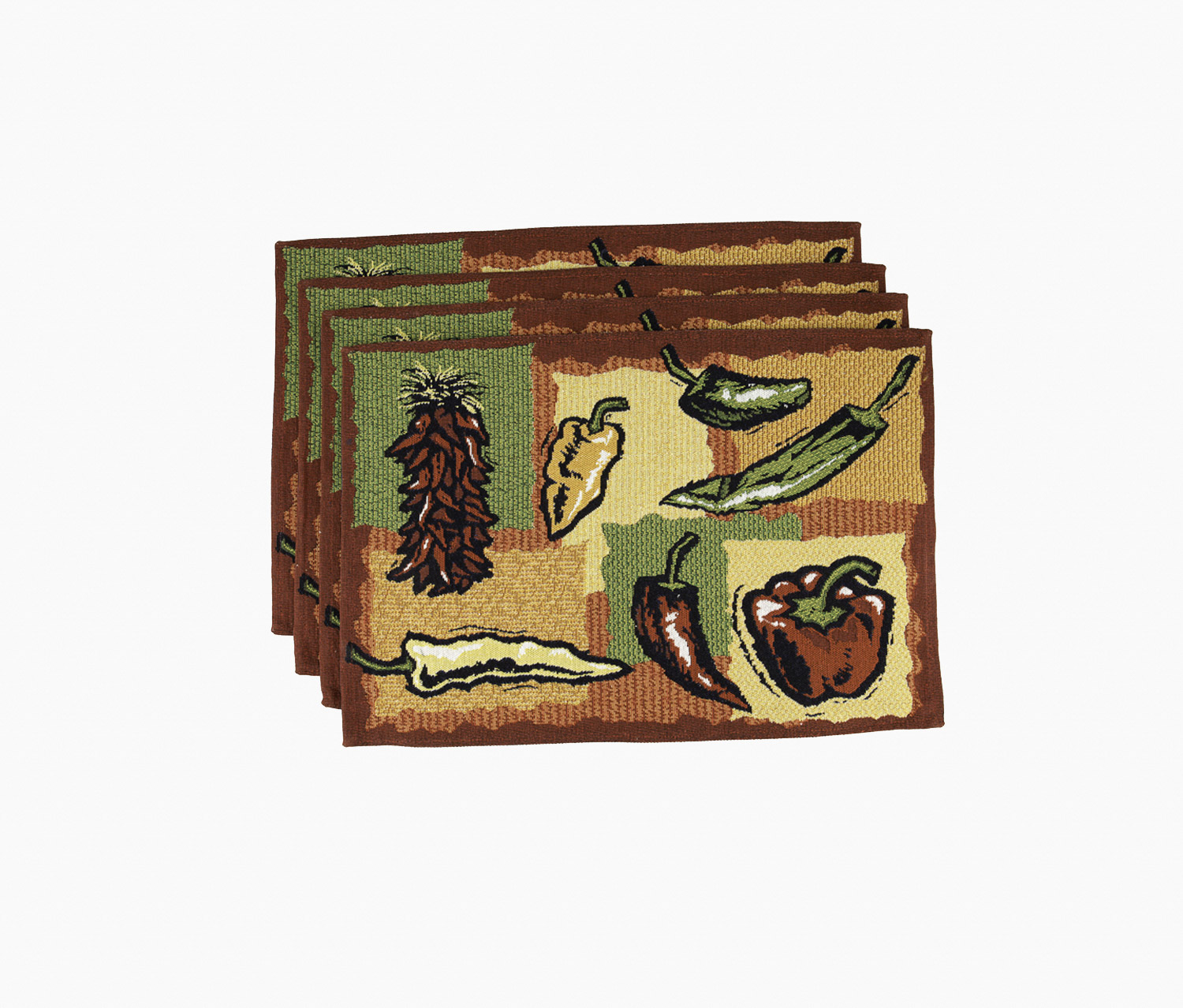 Hot Peppers 4 Piece Tapestry Placemat Set, Red Combo
