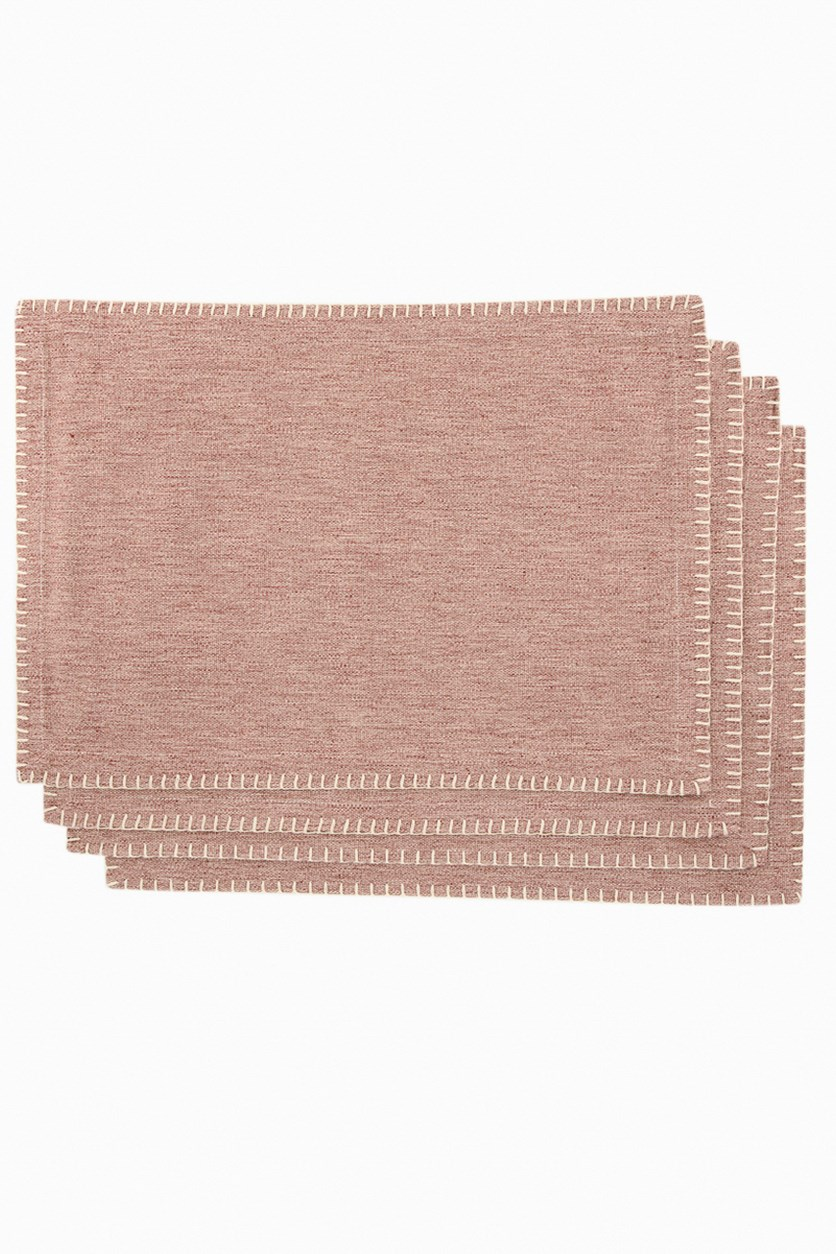 Vintage House 4 Piece Chambray Placemat Set, Redwood