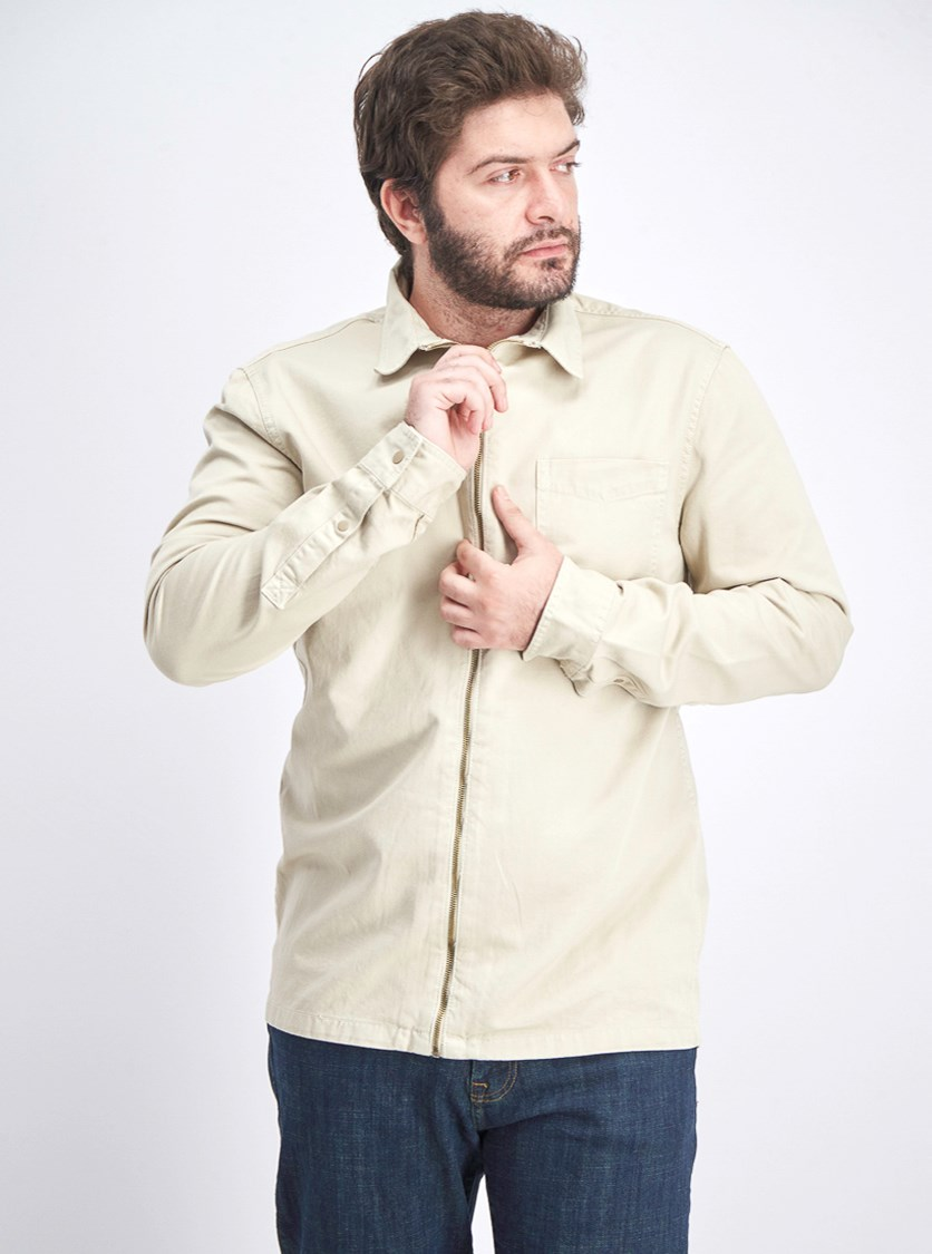 Men's Long Sleeve Front Pocket, Beige