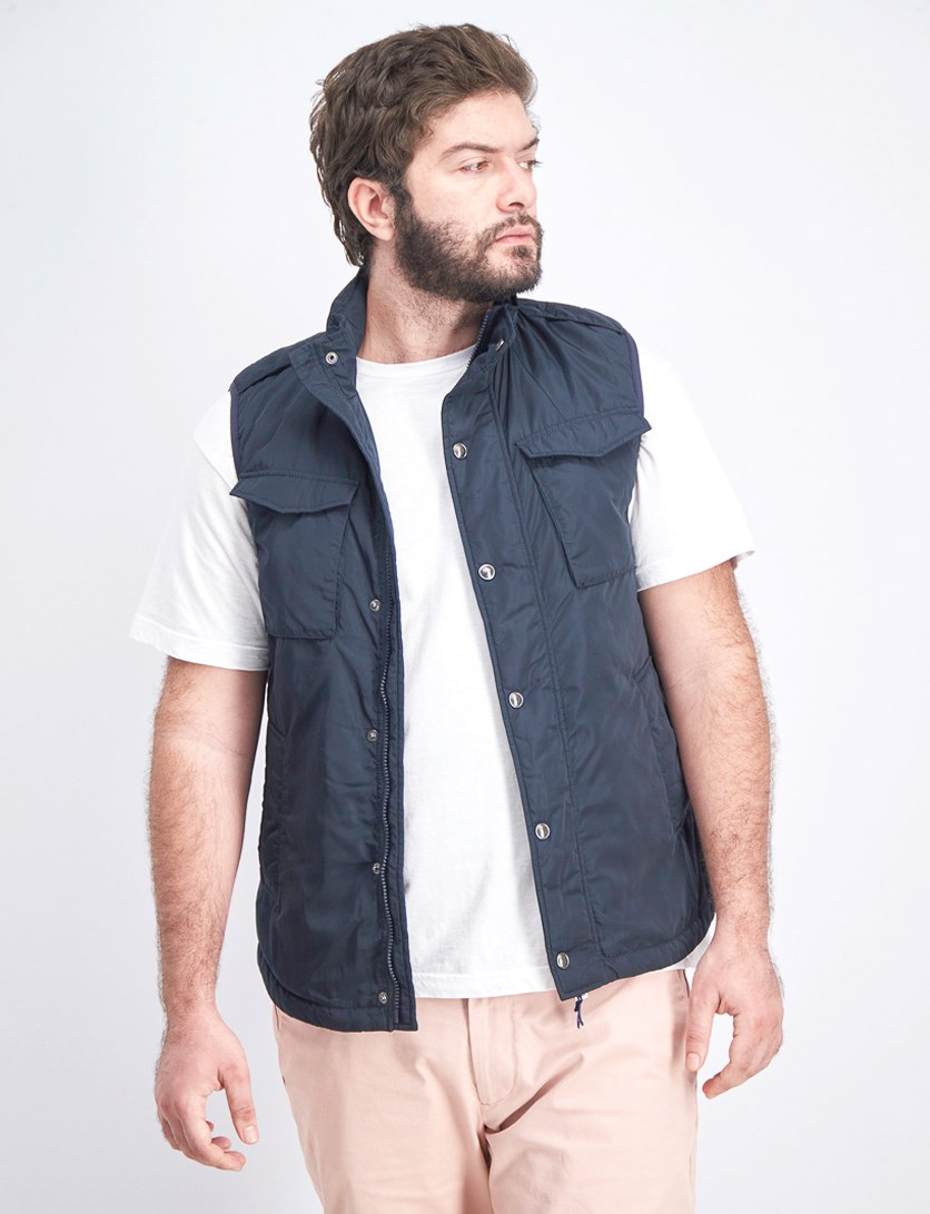 Men's Two Chest Pocket Vest, Dark Blue
