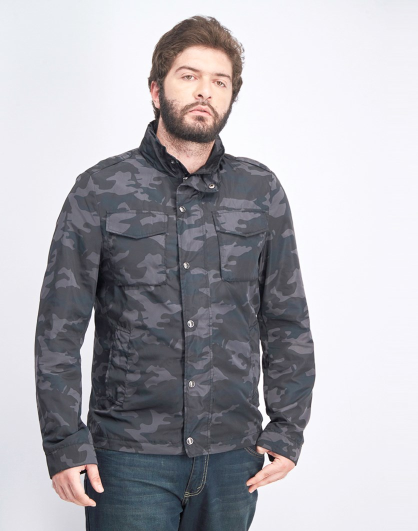 Men's Camoflage Jacket, Black/Grey