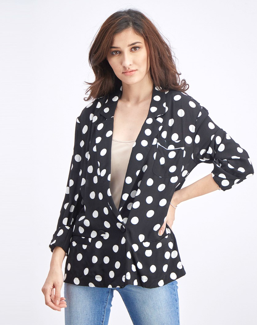 Women's Polka Dots Top, Black Combo