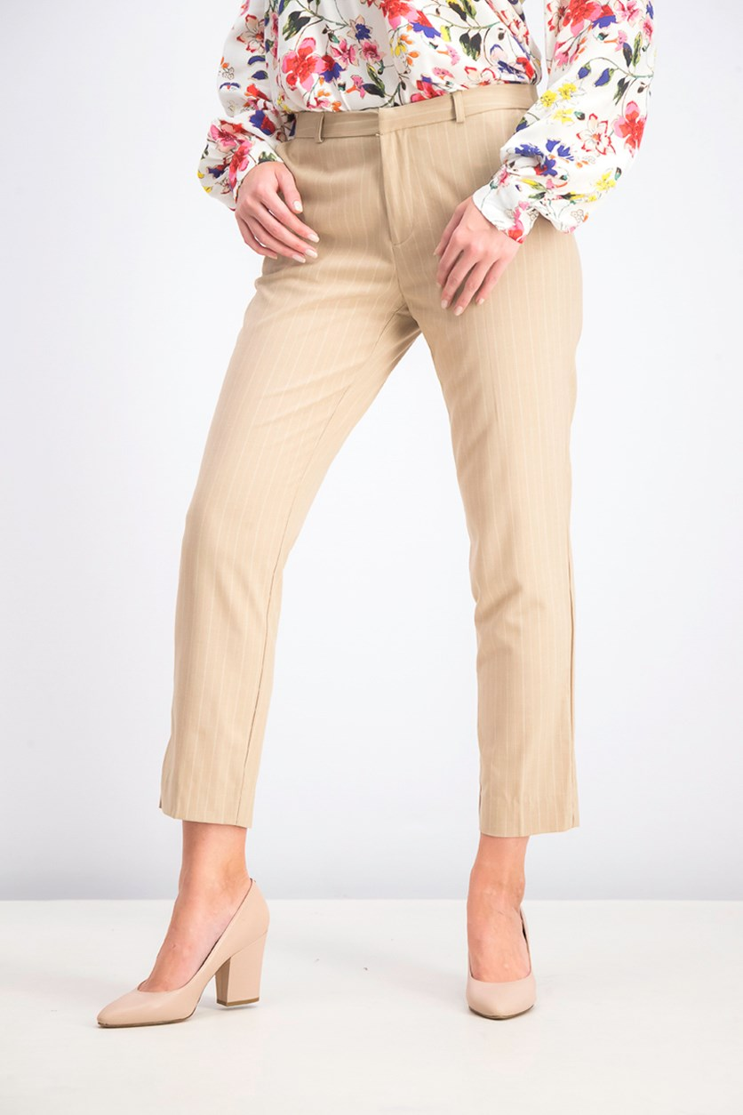 Women's Striped Pants, Beige