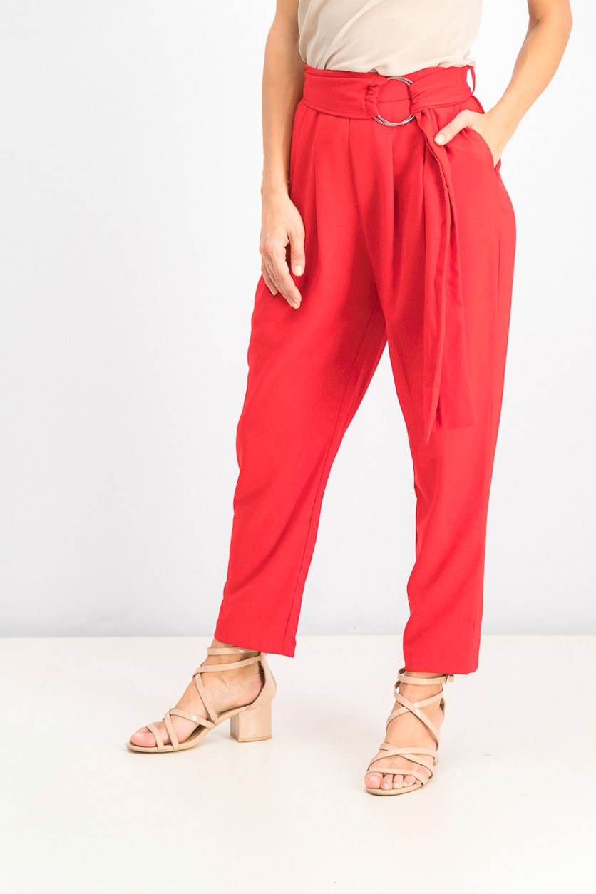 Women's Solid Pants, Red