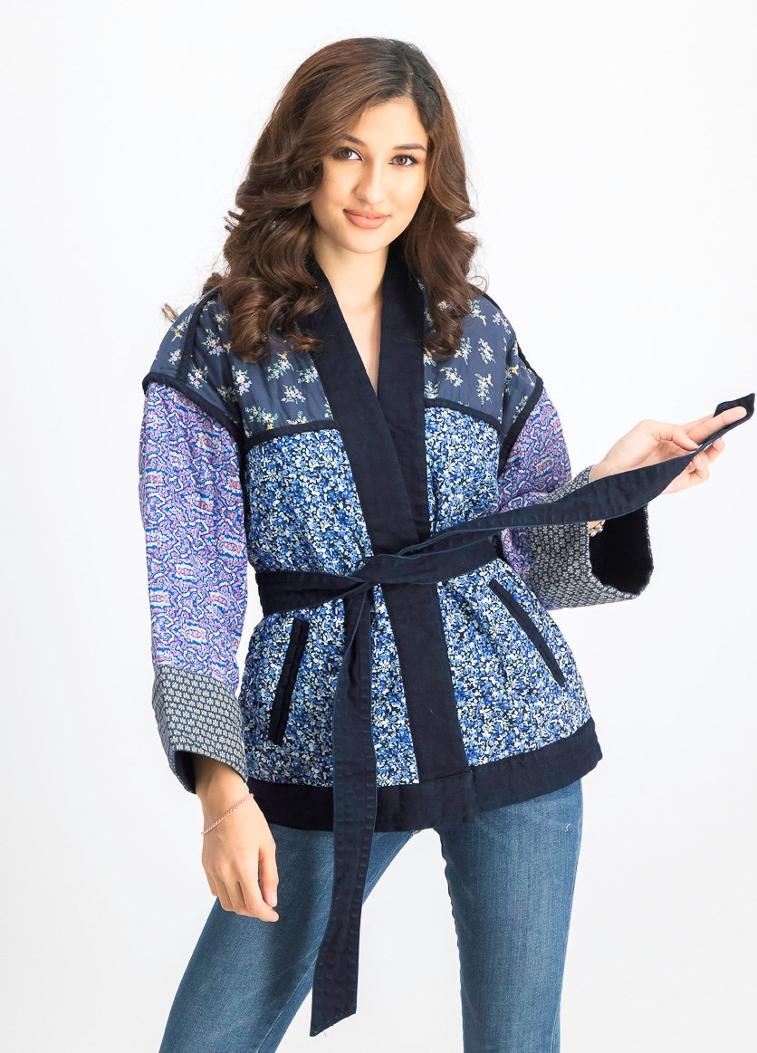 Women's Print Quilted Kimono Sleeve Jacket, Navy
