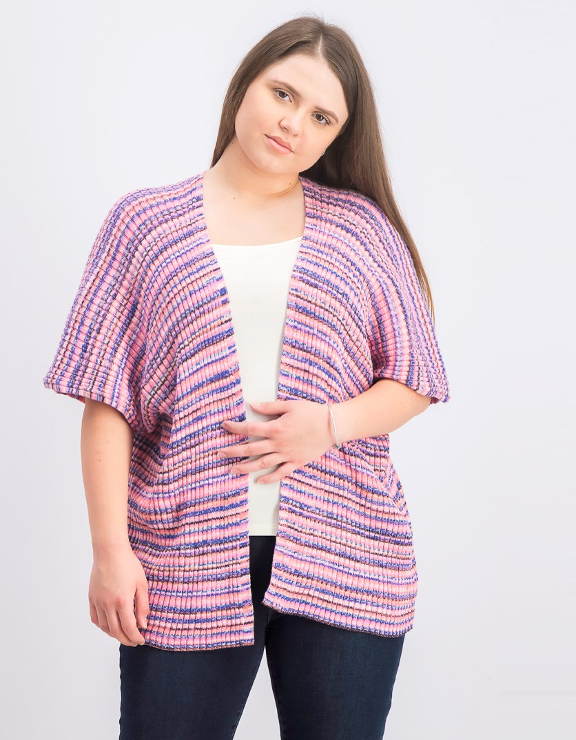 Women's Ribbed Cardigan, Pink Combo