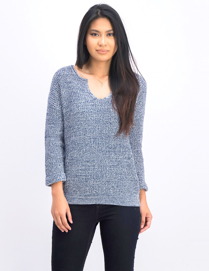 Women's V-neckline Knit Sweaters, Navy