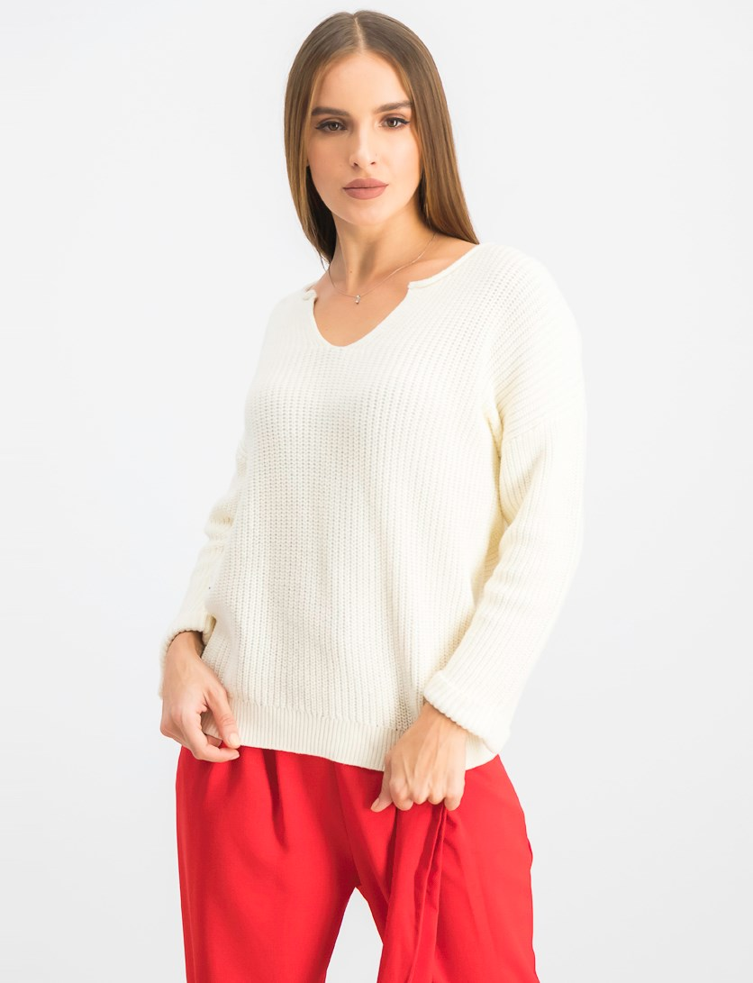 Women's Long Sleeve Pull Over Sweater, Ivory
