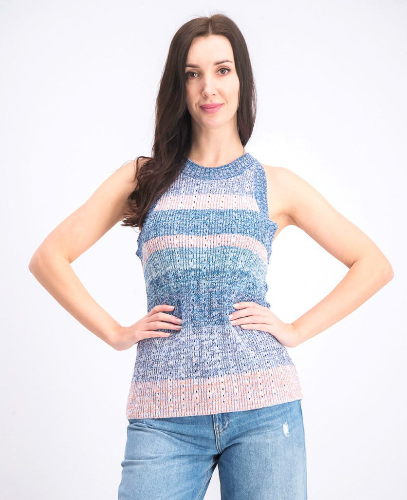 Women's Sleeveless Embroidered Top, Blue Combo