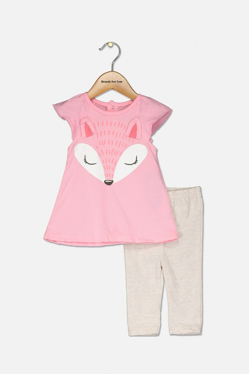 Toddler Girl's Flutter Sleeve & Pants, Pink/Beige