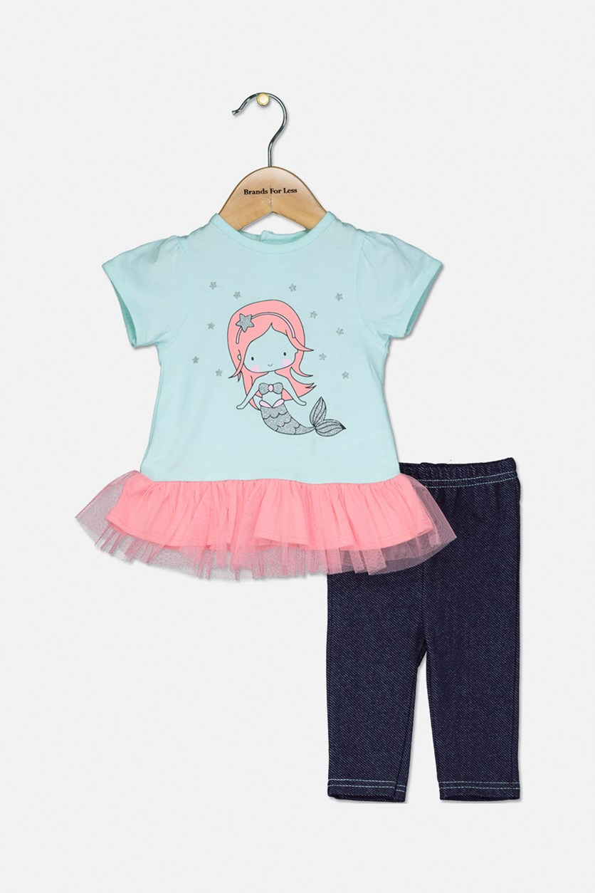 Toddler's Mermaid Graphic Print Set, Aqua/Navy